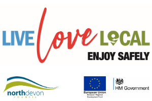 Logo made up of words 'live love local' and including the HM Gov and ERDF logos New 'place makers' helping to keep Barnstaple's shoppers safe