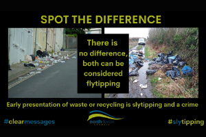 Picture of seagulls breaking bin bags presented for early collection Avoid a fine, don't be a sly, flytipper in North Devon